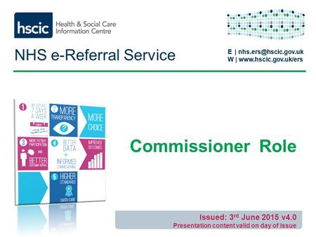E | W |  E | W |  NHS e-Referral Service Commissioner Role Issued: 3.