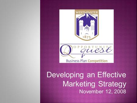 Developing an Effective Marketing Strategy November 12, 2008.