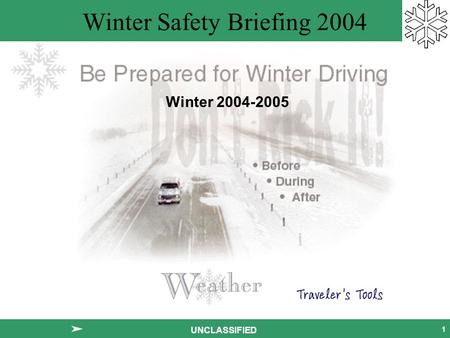 Winter Safety Briefing 2004 1 UNCLASSIFIED Winter 2004-2005.