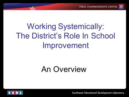 Working Systemically: The District's Role In School Improvement An Overview.