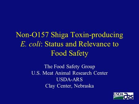 Non-O157 Shiga Toxin-producing E. coli: Status and Relevance to Food Safety The Food Safety Group U.S. Meat Animal Research Center USDA-ARS Clay Center,