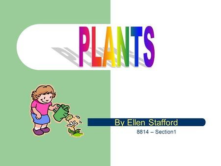 By Ellen Stafford 8814 – Section1 Table of Contents What We Will Learn KWL Chart on Plants Examples of Plants Parts of a Plant  Parts of a Plant Activity.