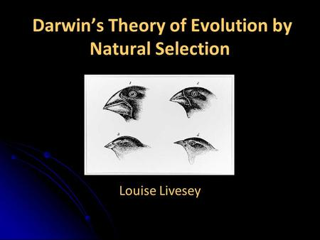 Darwin's Theory of Evolution by Natural Selection Louise Livesey.