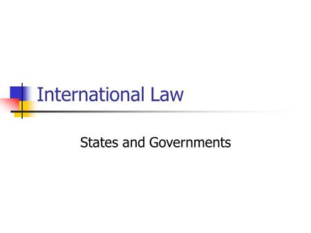 International Law States and Governments. A State must possess: A permanent population A defined territory A Government A capacity to enter into relations.