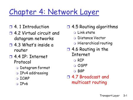 Transport Layer3-1 Chapter 4: Network Layer r 4. 1 Introduction r 4.2 Virtual circuit and datagram networks r 4.3 What's inside a router r 4.4 IP: Internet.