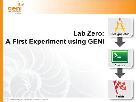 Sponsored by the National Science Foundation Lab Zero: A First Experiment using GENI.