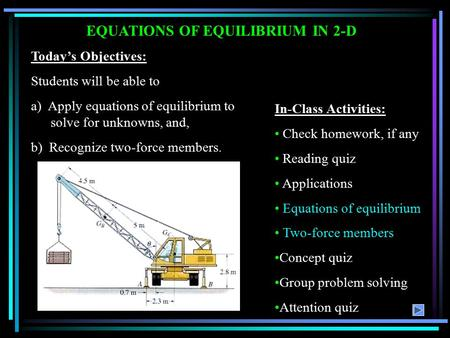 EQUATIONS OF EQUILIBRIUM IN 2-D
