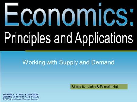 Slides by: John & Pamela Hall <strong>ECONOMICS</strong> 3e / HALL & LIEBERMAN WORKING WITH SUPPLY AND DEMAND © 2005 South-Western/Thomson Learning Working with Supply.