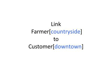 Link Farmer[countryside] to Customer[downtown]. Downtown Valley F F F F F F F F.
