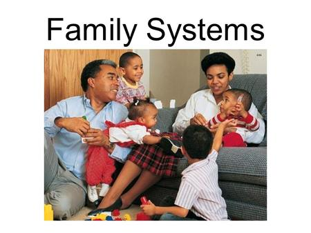 Family Systems. Family A group of people who are related by marriage, blood, or adoption, and who often live together and share economic resources.