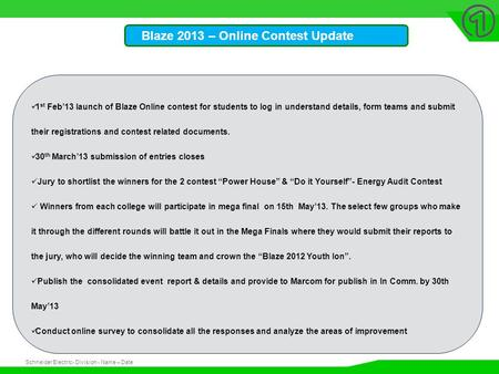 Schneider Electric 1 - Division - Name – Date Blaze 2013 – Online Contest Update 1 st Feb'13 launch of Blaze Online contest for students to log in understand.