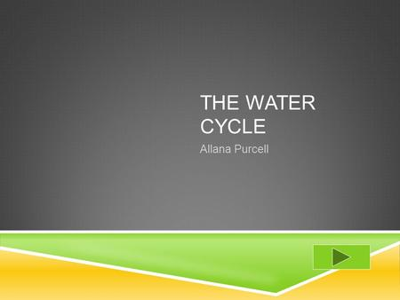THE WATER CYCLE Allana Purcell.  Content Area: Matter  Grade Level: 2nd  Summary: The purpose of this instructional PowerPoint is to identify the different.