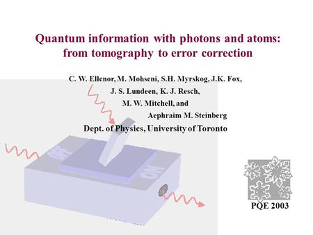 Quantum information with photons and atoms: from tomography to error correction C. W. Ellenor, M. Mohseni, S.H. Myrskog, J.K. Fox, J. S. Lundeen, K. J.
