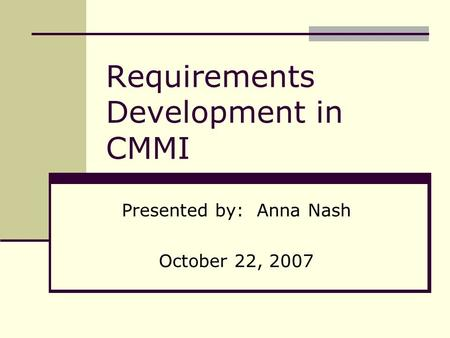 Requirements Development in CMMI