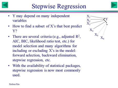 Xuhua Xia Stepwise Regression Y may depend on many independent variables How to find a subset of X's that best predict Y? There are several criteria (e.g.,