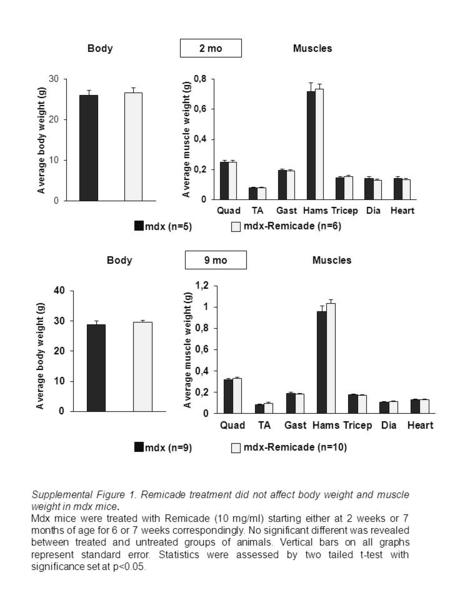 Supplemental Figure 1. Remicade treatment did not affect body weight and muscle weight in mdx mice. Mdx mice were treated with Remicade (10 mg/ml) starting.