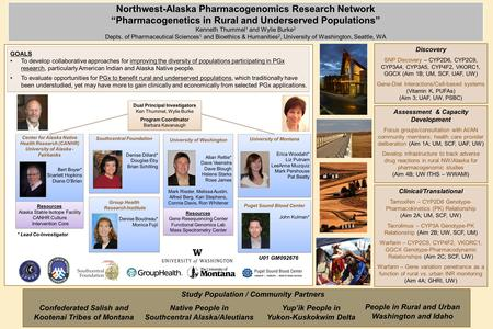 "Northwest-Alaska Pharmacogenomics Research Network ""Pharmacogenetics in Rural and Underserved Populations"" Kenneth Thummel 1 and Wylie Burke 2 Depts. of."