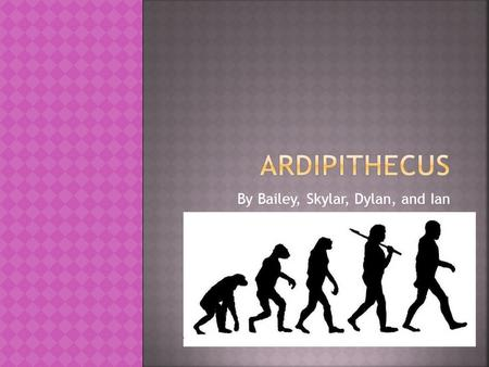 By Bailey, Skylar, Dylan, and Ian Take a journey with us into the past back to when Ardipithecus lived. They were very different from us in many ways;