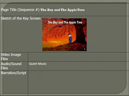 Page Title (Sequence #) The Boy and The Apple Tree Sketch of the Key Screen Video Image Files Audio/Sound Files Quiet Music Narration/Script.