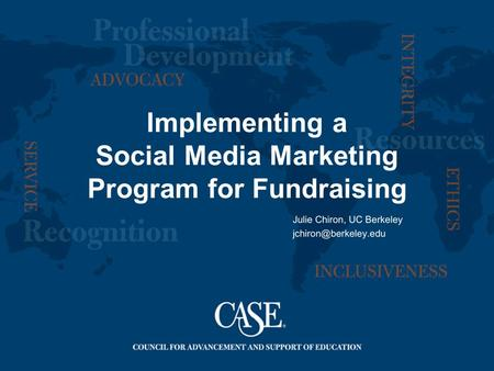 Implementing a Social Media Marketing Program for Fundraising.
