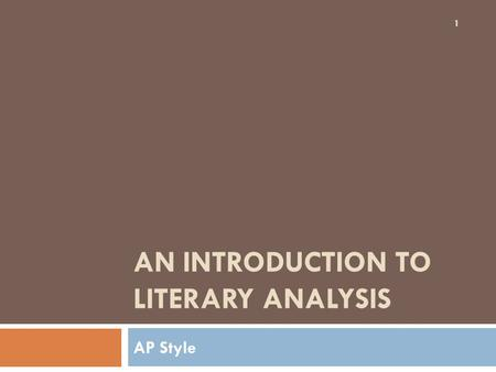 An introduction to literary analysis