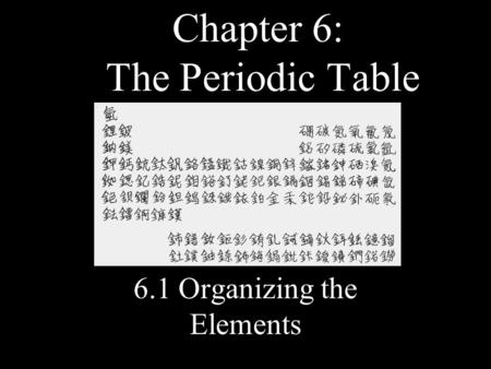 Chapter 6: The Periodic Table 6.1 Organizing the Elements.