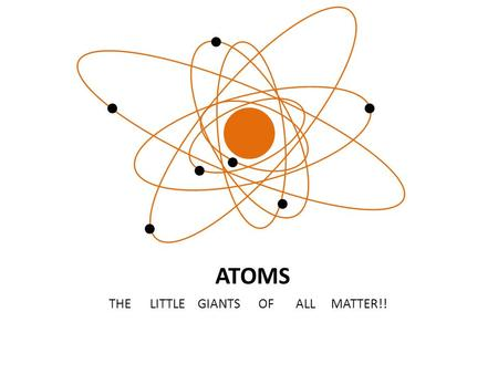 ATOMS THE LITTLE GIANTS OF ALL MATTER!!. Matter: all matter is made up of atoms. is anything that has a mass and a volume all matter has a specific density.