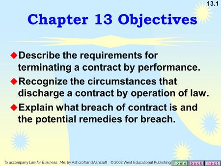 13.1 b a c kn e x t h o m e Chapter 13 Objectives u Describe the requirements for terminating a contract by performance. u Recognize the circumstances.
