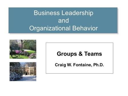 Business Leadership and Organizational Behavior Groups & Teams Craig W. Fontaine, Ph.D.