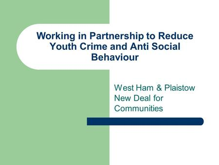 Working in Partnership to Reduce Youth Crime and Anti Social Behaviour West Ham & Plaistow New Deal for Communities.
