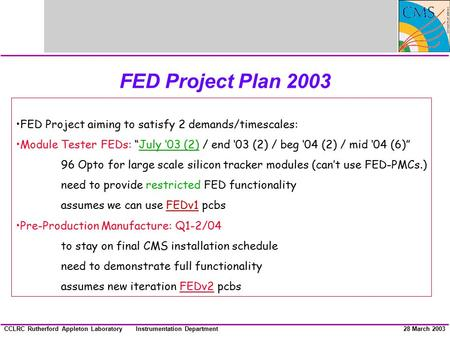 Instrumentation DepartmentCCLRC Rutherford Appleton Laboratory28 March 2003 FED Project Plan 2003 FED Project aiming to satisfy 2 demands/timescales: Module.