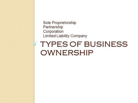 TYPES OF BUSINESS OWNERSHIP Sole Proprietorship Partnership Corporation Limited Liability Company.