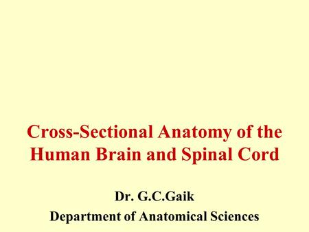 Cross-Sectional Anatomy of the Human Brain and Spinal Cord