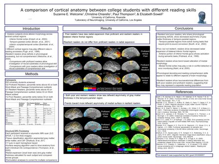 A comparison of cortical anatomy between college students with different reading skills Suzanne E. Welcome 1, Christine Chiarello 1, Paul Thompson 2, &