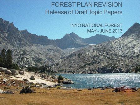 FOREST PLAN REVISION Release of Draft Topic Papers INYO NATIONAL FOREST MAY - JUNE 2013.