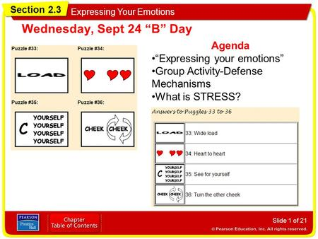 "Section 2.3 Expressing Your Emotions Slide 1 of 21 Agenda ""Expressing your emotions"" Group Activity-Defense Mechanisms What is STRESS? Wednesday, Sept."