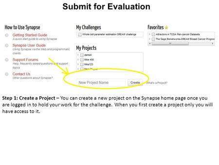 Submit for Evaluation Step 1: Create a Project – You can create a new project on the Synapse home page once you are logged in to hold your work for the.