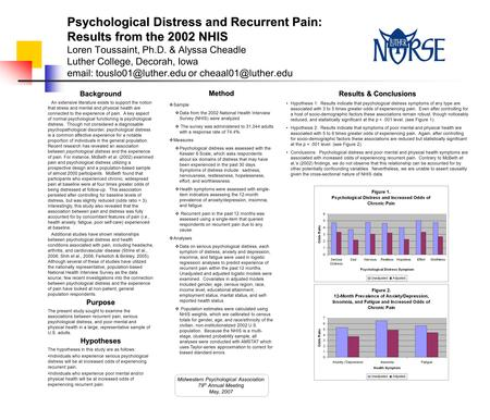 Psychological Distress and Recurrent Pain: Results from the 2002 NHIS Psychological Distress and Recurrent Pain: Results from the 2002 NHIS Loren Toussaint,
