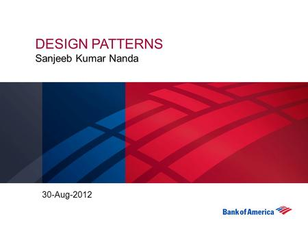 DESIGN PATTERNS Sanjeeb Kumar Nanda 30-Aug-2012. 2 What is a pattern? Pattern is a recurring solution to a standard problem Each Pattern describes a problem.
