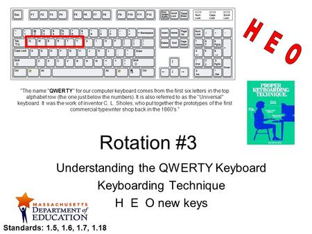 Rotation #3 Understanding the QWERTY Keyboard Keyboarding Technique H E O new keys The name QWERTY for our computer keyboard comes from the first six.