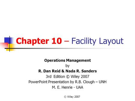 facility layout in operations management pdf