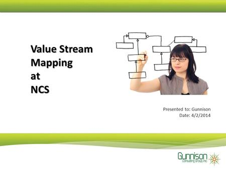Value Stream Mapping at NCS Presented to: Gunnison Date: 4/2/2014.