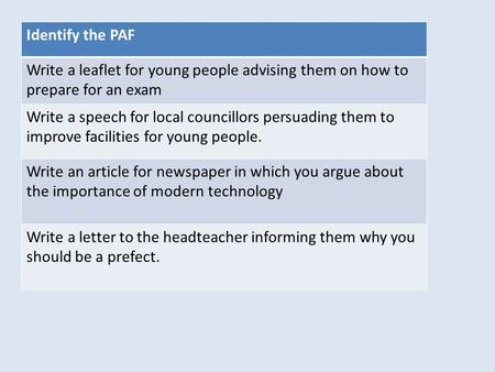 Identify the PAF Write a leaflet for young people advising them on how to prepare for an exam Write a speech for local councillors persuading them to improve.