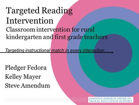 Targeted Reading Intervention Classroom intervention for rural kindergarten and first grade teachers Pledger Fedora Kelley Mayer Steve Amendum Targeting.