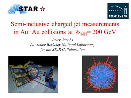 Peter Jacobs Lawrence Berkeley National Laboratory for the STAR Collaboration Semi-inclusive charged jet measurements in Au+Au collisions at √s NN = 200.