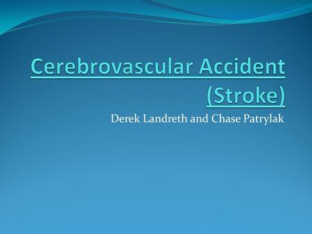 Derek Landreth and Chase Patrylak. Cerebrovascular Accident (Stroke) A stroke is when a clogged or burst artery interrupts blood flow to the brain. A.