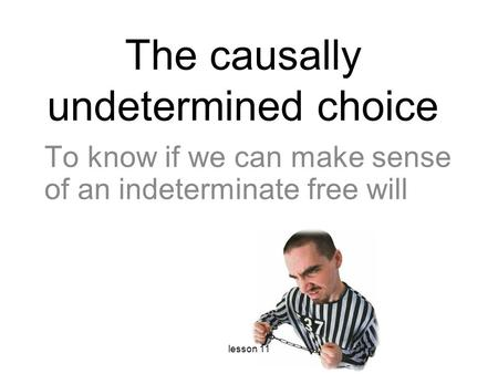 The causally undetermined choice To know if we can make sense of an indeterminate free will lesson 11.