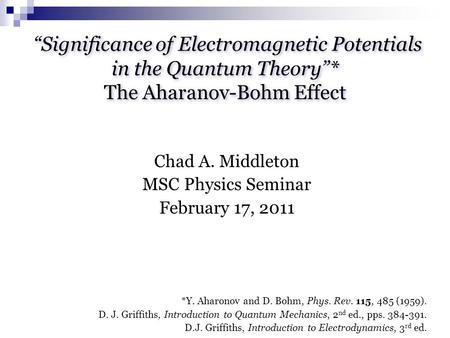 """Significance of Electromagnetic Potentials in the Quantum Theory"""