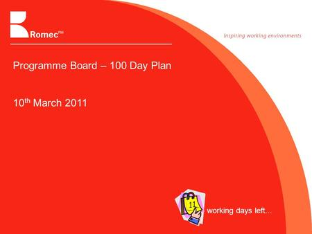 Programme Board – 100 Day Plan 10 th March 2011 working days left... 1 1.