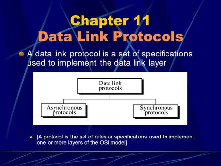 Chapter 11 Data Link Protocols A data link protocol is a set of specifications used to implement the data link layer [A protocol is the set of rules or.